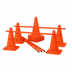 Lot de 10 Cones 12 Trous 40 cm + 5 Jalons 1 m